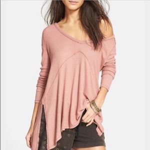 Flowy Long Sleeved Waffle Knit Top
